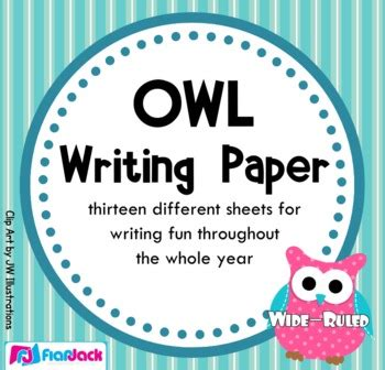 owl themed writing paper wide ruled  flapjack educational resources