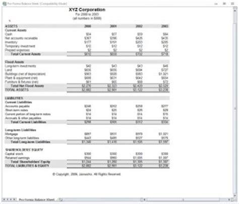 proforma balance sheet pro forma balance sheet