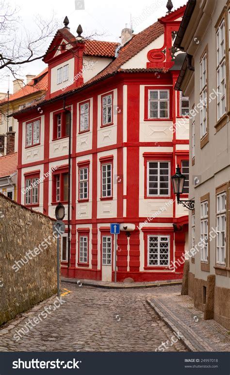 Old Streets Of Prague Cobblestone Road Novy Svet Stock