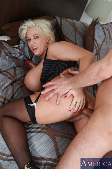 Good Looking Big Jugged Blonde Mom In Black Dress Gets