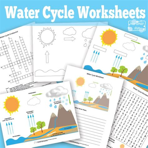 printable water cycle worksheets diagrams itsy