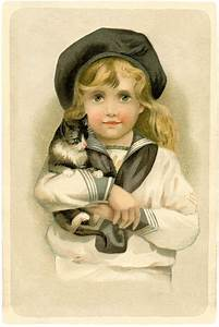 Vintage, Child, With, Cat, Image, -, Sweet