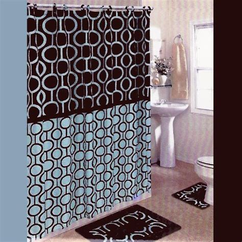 Blue And Brown Shower Curtain Fabric by Brown And Blue 15 Piece Bathroom Set 2 Rugs Mats 1