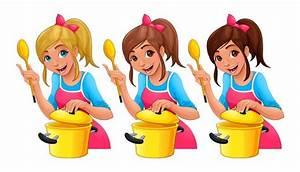 fille avec une cuillere cuisine trois personnages de With dessin anime de cuisine