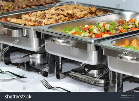 Banquet Table Chafing Dish Heaters Stock Photo 28347784