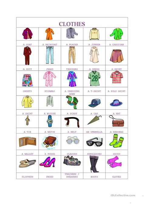 clothes pictionary worksheet free esl printable