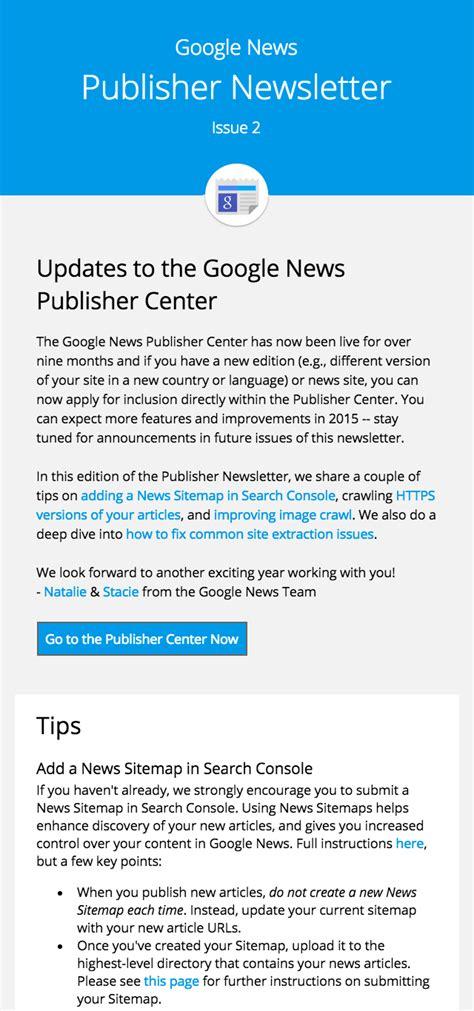 google newsletter news publisher newsletter 2