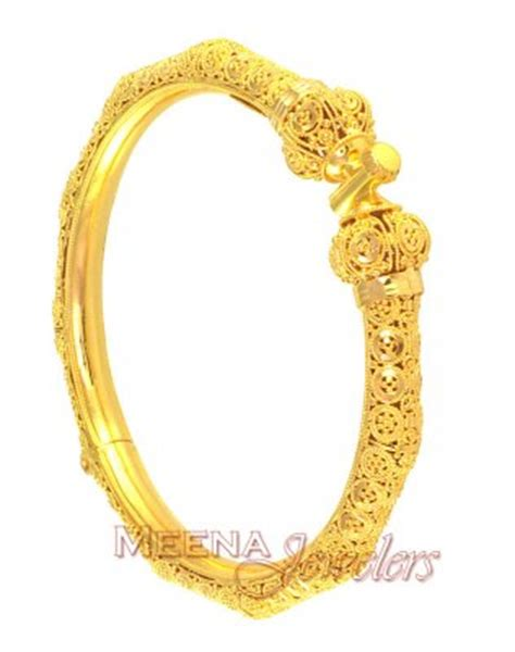 22k gold designer kada pipe bangle baka2479 22k gold kadas beautifully crafted in