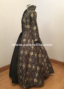 Us Postage Chart Print Brocade Long Victorian Tudor Jacquard Period Dress