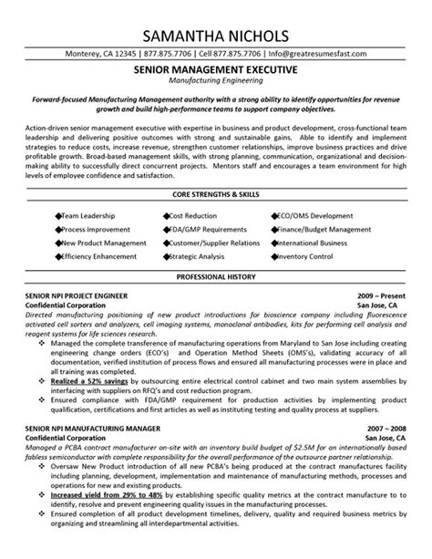 Resume Template For Senior Management by Senior Management Executive Manufacturing Engineering