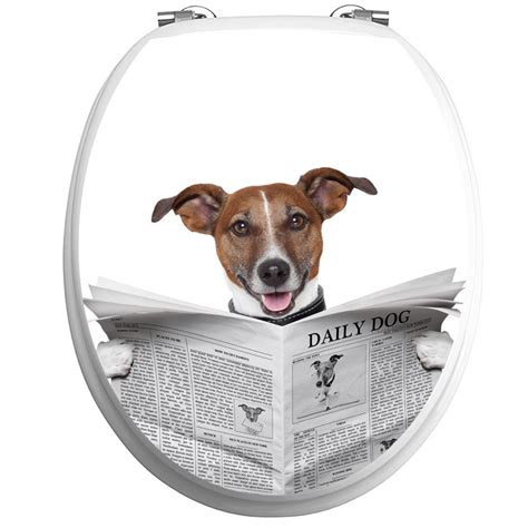 sticker abattant toilette chien avec  journal stickers