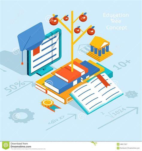 graphic designer education colored educational tree concept graphic design stock