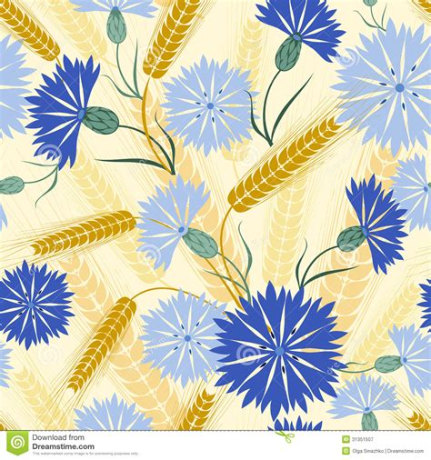 Seamless Pattern With Cornflower And Wheat Royalty Free