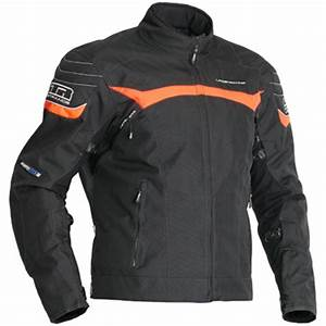 Lindstrands Cheops Textile Motorcycle Jacket Black Neon Orange