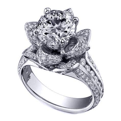 Engagement Ring Lotus Diamond Engagement Ring In 14k