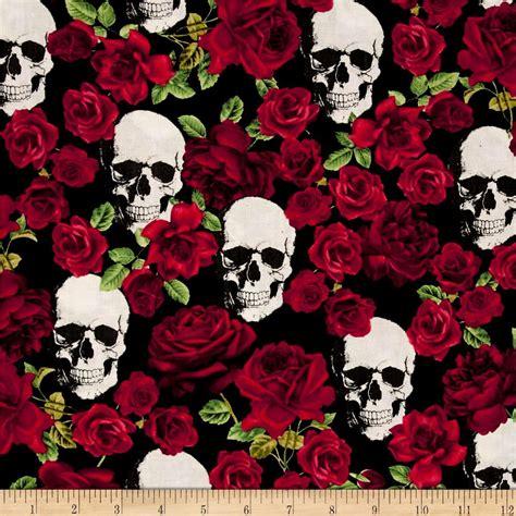 Timeless Treasures Skulls Roses Black Discount