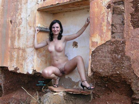 Naked Brunette Wearing Heels Outdoor February