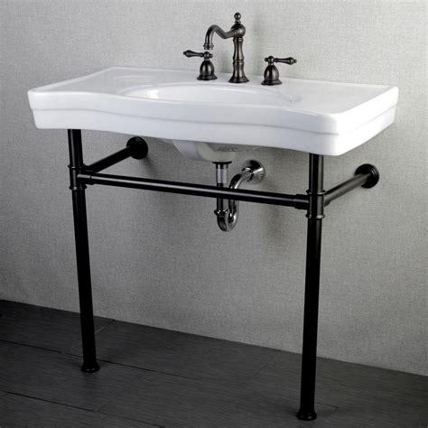 metal leg bathroom vanity kingston brass console table combo in white with metal pedestal legs in satin nickel oil