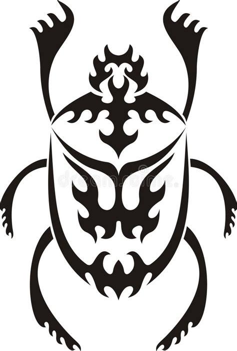 tribal sacred scarab tattoo stock vector illustration