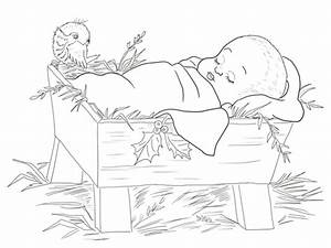 jesus in manger coloring page - baby jesus in a manger coloring page free printable