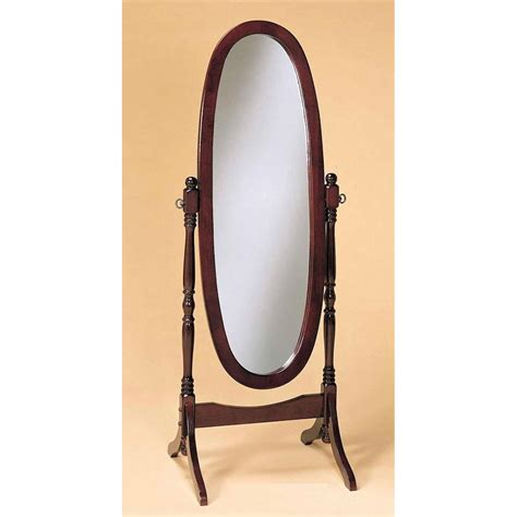cherry finish cheval mirror length solid wood floor mirror fastfurnishings com