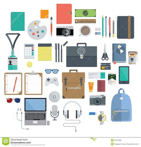 fourniture de bureau professionnel of office equipment travel gadget and hobby icon stock