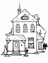 Coloring Pages Haunted Printable Simple Drawing Adults Halloween Drawings Paintingvalley sketch template