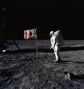Buzz Aldrin and Flag During First Moon Landing