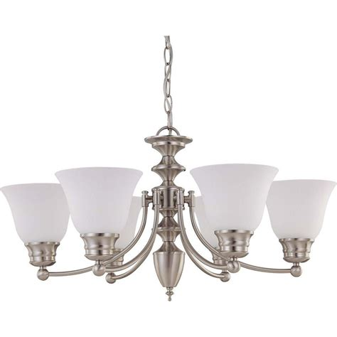 chandelier glass l shades glomar 6 light brushed nickel chandelier with frosted