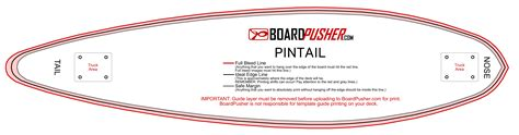 Pintail Longboard Deck Template by Boardpusher Help Design Tips Design Your Own Skateboard