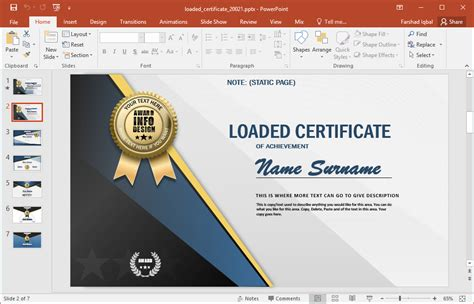 home design free software certificate powerpoint template
