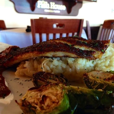 grouper yum brussels blackened basil risotto roasted sprouts leek tomato sauce lunch finished seafood