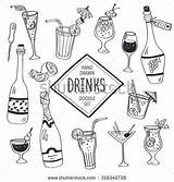 Coloring Doodle Drinks Cocktail Cocktails Wine Drawn Hand Glass Icons Beverages Journal Water Bottles Juice Background Isolated Shutterstock Doodles Drawings sketch template