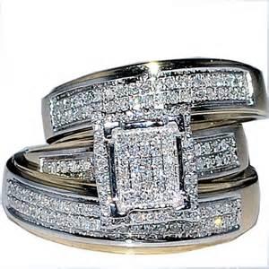 trio wedding ring set his wedding rings set trio 10k yellow gold
