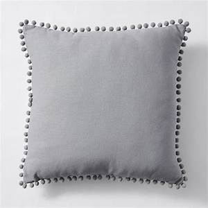 Linen Cotton Pom Pom Cushion 45cm - Grey Target Australia
