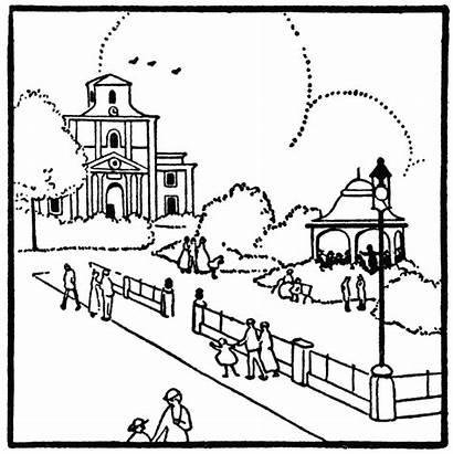 Clipart Park Neighborhood Community Plaza Clip Drawing
