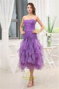 Violet Purple Prom Dresses Tea Length Organza Bridesmaid