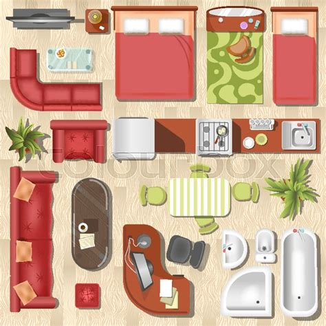 Kitchen Layout Vector by Apartment Or Flat Furniture And Interior Layout Top View