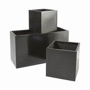 Bac A Fleur Castorama : pot cube composite noir 44 x 44 x cm castorama ~ Melissatoandfro.com Idées de Décoration