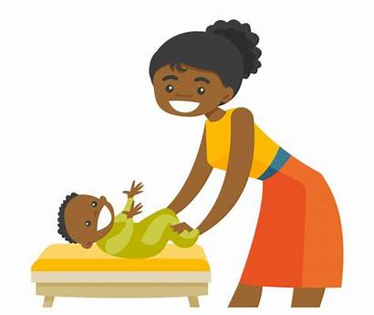 Care Taking African Mother Table Changing American