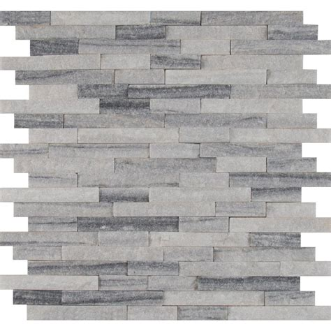 grey mosaic kitchen wall tiles alaska grey splitface 12 in x 12 in x 10 mm marble mesh 6964
