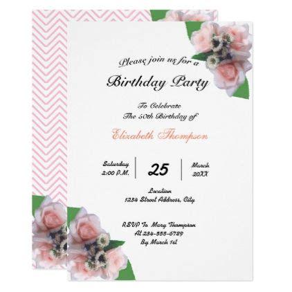 Romantic three pink roses floral birthday party invitation