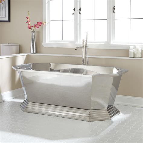 """66"""" Selby Polished Stainless Steel Tub Bathroom"""