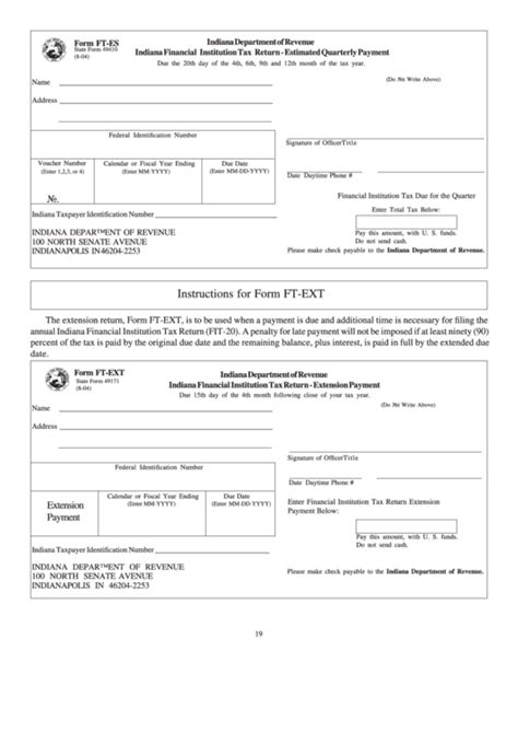 Form Ft Es State Form 49410 Form Ft Ext State Form 49171 Indiana Financial Institution Tax