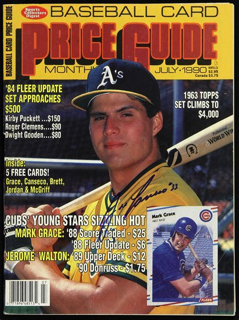 Jan 18, 2021 · 1990 bowman #460 jose canseco. Lot Detail - 1990 Jose Canseco Oakland A's Signed Baseball Card Price Guide Monthly (JSA)