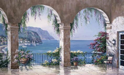 mediterranean sea arches wallpaper wall mural ebay