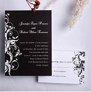Black And White Damask Wedding Invitations EWI023 As Low As Cheap Unique Wedding Invite Set Cheap Wedding Invitations Lights Brown Peacock Pocket Invitations As Low As Personalized Unique White And Blue Summer Wedding Invitation Card