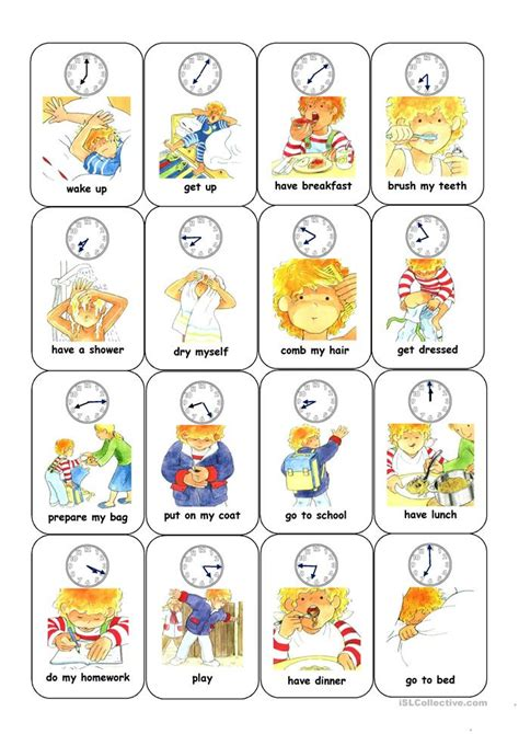 time and daily routine card worksheet free esl printable worksheets made by teachers