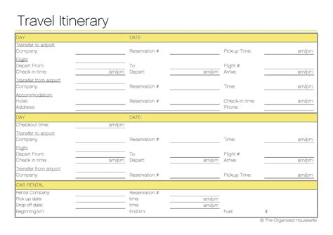 Trip Itinerary Template Free Printable Travel Itinerary Itineraries Etc