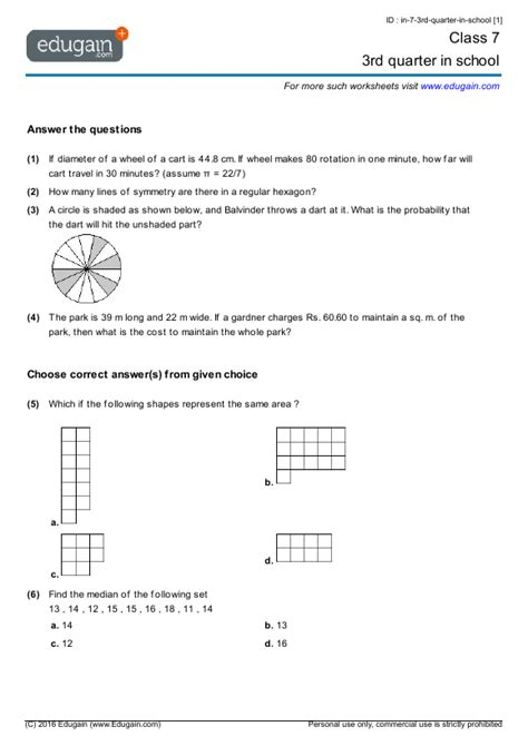 grade  math worksheets  problems  quarter
